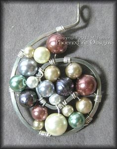 Pearl Swirl - Multi-Colored Glass Pearl Wire Wrapped Spiral Pendant in Hammered Silver $40