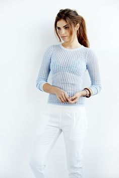 Shell Stitch Crew Sweater in Light Blue from Faherty Brand