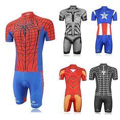 Weelly Summer Hero Men Short Sleeve Cycling Jersey Shirts Pants Coolmax Pad Iron Man Spiderman Superman Captain America Batman - http://ridingjerseys.com/weelly-summer-hero-men-short-sleeve-cycling-jersey-shirts-pants-coolmax-pad-iron-man-spiderman-superman-captain-america-batman/