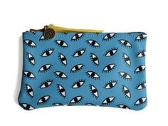 Image of Mini Pouch- Blue Leather with Eyeball Print