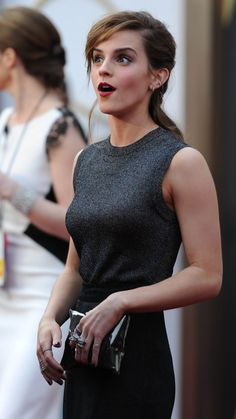 Pretty elegant charcoal outfit on Emma Watson. | Just a pretty celebrity