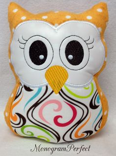@Lisa Phillips-Barton Phillips-Barton Walters ... Orange Polka Dot Stuffed Owl Soft Toy Pillow by MonogramPerfect, $19.99