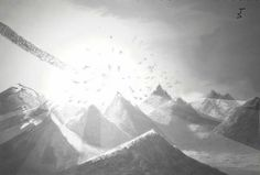 An older picture of a comet hitting a mountain range. I originally drew it and then scanned it and fixed it up in photoshop.