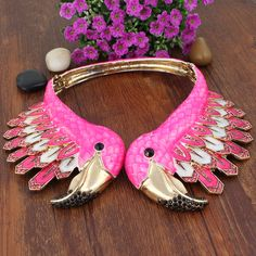 New Fashion Bird Flamingo Animal Necklace Pink Enamel Austrian Crystal Gold GP