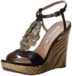 #saucy Diane von Furstenberg Women's Stefy Wedge Sandal,Black,7.5 M US