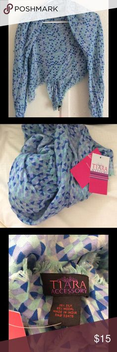 Blue Mix Geo Print Silk Scarf Wrap Made in India NEW WITH TAG Measurements: length- 40 inches, width- 42 inches. Materials: 35% Silk, 65% Modal. Made in India. Soft & lightweight. LAST ONE Tiara Accessories Accessories Scarves & Wraps