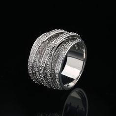 MECHOSEN Venta Caliente de Lujo Circón Anillos Para Las Mujeres de Los Hombres de Compromiso mujer Zirconia CZ Joyas de Diamantes de Oro Blanco y 18 K de Oro anillos