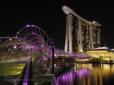 Helix bridge and Marina Bay Sands by daclutter  reflection travel night architecture lights bridge building singapore long exposure marina bay sands