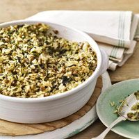 Baked with lentils and rice in this casserole recipe, frozen spinach makes for a healthy and filling dinner.
