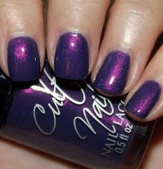 Cult Nails Flushed. It starts off a little sheer but easily builds into this incredible purple/blue base with glowing pink/purple shimmer. (3 coats).