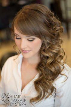 Beautiful Sideswept Curls | Feminine Bridal Hair