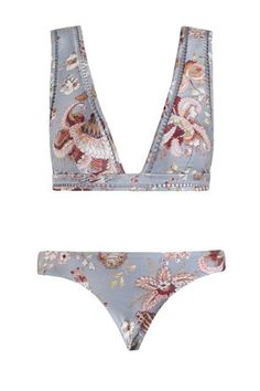 Pavilion Ladder Bikini, from our Summer Swim 16 collection, in Floral printed lycra with white ladder insert trim through neckline and underbust band. Floral Bikini, The Bikini, Bikini Swimsuit, Bikini Beach, Honeymoon Bikini, White Swimsuit, Bralette Bikini, Bikini Tops, Summer Suits
