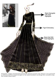 DIY Aishwarya Rai Black Floor Length Anarkali