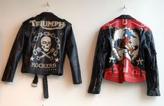 Triumph and Wild West Jacket Designs for Lloyd Johnson. Johnsons Clothes store (London) Silkscreen and hand painted on leather