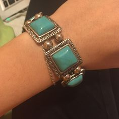 Turquoise Bracelet Stretchy Material. Beautiful accent piece. Jewelry Bracelets