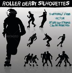 Roller Derby Silhouettes — Vector EPS #player #girl • Available here → https://graphicriver.net/item/roller-derby-silhouettes/5756309?ref=pxcr