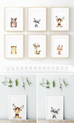 Gender neutral nursery art - Baby shower gift - Woodland animals - Instant download #affiliate #baby #decor #home