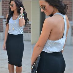 Available at Apricot Lane Peoria, IL; Normal, IL; and Champaign, IL. Give us a call - WE SHIP! (309) 691-2230 or shop with us online www.apricotlaneboutique.com/?ac=peoria #pencilskirt #springfashion #summerfashion