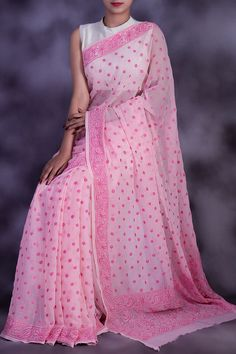 Hand Embroidered Pink Colour Lucknowi Chikankari Designer Saree (With Blouse - Georgette) GA250603