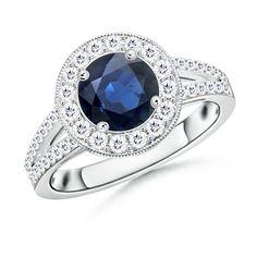 Angara Vintage Sapphire Ring in White Gold BWvKlFvcX