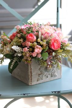 Spring Flower Arrangements, Artificial Flower Arrangements, Beautiful Flower Arrangements, Artificial Flowers, Spring Flowers, Floral Arrangements, Beautiful Flowers, Flower Box Centerpiece, Flower Decorations