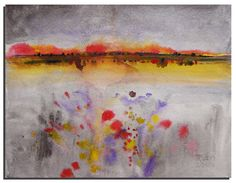 Abstract Landscape Painting 10X8 Silver Red by WatercolorsTR