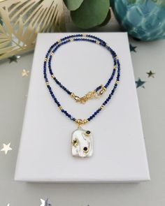 Semi-Pressure Gemstone Lapizlasuli  Necklace. FREE SHIPPING Pearl Collection Black Spinel, Freshwater Pearl Necklaces, Jewelery, Chokers, Beaded Necklace, Perfume, Gemstones, Free Shipping, Pearls