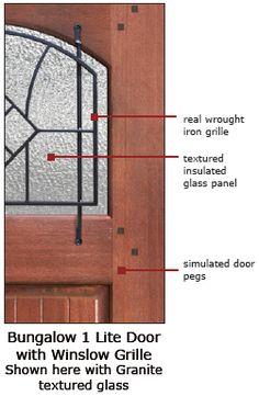 Mahogany Bungalow Winslow Door Glass Details Craftsman Style Doors, Glass Texture, Entry Doors, Glass Panels, Glass Door, Wrought Iron, Granite, Bungalow, Star Wars