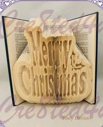 Merry Christmas combi pattern with free combination fold tutorial on Craftsuprint - View Now! Christmas Books, Merry Christmas, Cut And Fold Books, Bog, Book Folding Patterns, Folded Book Art, Paper Folding, Book Gifts, Family Gifts