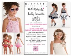The Biscotti & Kate Mack Once in a Blue Moon Public Warehouse Sale is open to the general public at the Biscotti Inc. headquarters in Oakland, CA.  *No children under 12 years please*