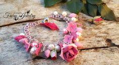 Bracciale rose fiori rosa fucsia perle alluminio fimo pasta polimerica modellato a mano handmade, by Evangela Fairy Jewelry, 15,00 € su misshobby.com