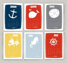 SALE 2014 Mini Nautical Calendar – Two Pooch Paperie LLC