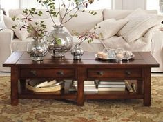 Centerpiece, Traditional Dark Brown Polished Rectangle Long Coffee Table Living Room Centerpiece Brown Wood Coffee Table Brown Wood Living Room Table Persian Area Rug White Creamy Sofa Set: Coffee Table Centerpiece Ideas