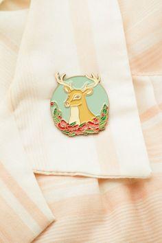 Poppy Deer Pin by Natelle Draws Stuff lapel pin by tinydeerstudio