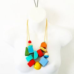 color block necklace  vintage wooden beads by dannybrito on Etsy