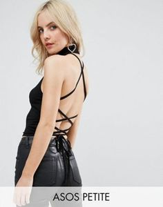 1cfe9583cdef74 ASOS PETITE Halter Top with Choker Neck   Strappy Lace Up Back Petite  Vests