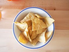 Homemade corn tortilla chips made from corn tortillas!
