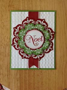 Handmade Christmas Card Kit Noel Wreath MD w Mostly Stampin Up Product ...