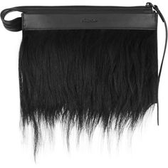 Depeche small goat hair-trimmed leather clutch ($330) ❤ liked on Polyvore featuring bags, handbags, clutches, 3.1 phillip lim, 3.1 phillip lim purse, leather clutches, real leather handbags and leather purse