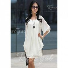 Refreshing Casual Plus Size Three Quarter Sleeves Scoop Neck Chiffon Dress For Women