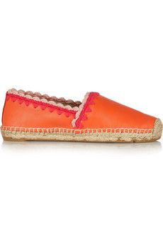 Tory Burch Myra embroidered leather espadrilles | NET-A-PORTER
