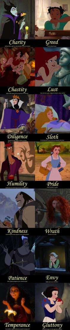"RE-PINNED, NOT MY WORDS OR DOING. I JUST THOUGHT THIS WAS INTERESTING:  ""I've see Disney princess sins and virtues, and villain sins, so I decided to do villain virtues and my own idea of princess sins. (Note: characters and pictures belong to Disney)"""