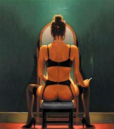 Jack Vettriano - Mirror Mirror http://www.extramoeniart.it/il-bello-il-brutto-e-il-cattivo/vettriano-la-popstar-snobbata-dai-critici