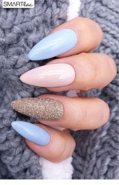 nails pink and blue ~ nails pink ; nails pink and white ; nails pink and black ; nails pink and blue ; nails pink and gold Almond Nails Designs, Acrylic Nail Designs, Nail Art Designs, Fingernail Designs, Cute Acrylic Nails, Glitter Nails, Silver Glitter, Acrylic Spring Nails, Acrylic Nails For Summer Almond
