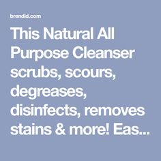 This Natural All Purpose Cleanser scrubs, scours, degreases, disinfects, removes stains & more! Easy, 2-ingredient recipe for all-natural, green cleaner.