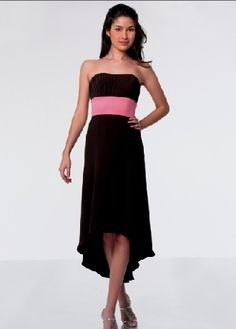 Empire strapless black chiffon sleeveless pleated belt high-low Bridesmaid Dress BD250008