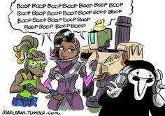 Scrollzoom,artist,Lucio,Overwatch,Blizzard,Blizzard Entertainment,фэндомы,Sombra (Overwatch),Bastion (Overwatch),Reaper (Overwatch),Overwatch Comics