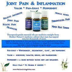 Young Living Essential Oils Blends. Love this combo for pain! I couldn't stand up straight because of the pain in my sciatica, I used this combo before bed and the next morning I was pain free! Hooked on Oils! :) Great way to get off some medications.