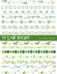 Instant Download Green Leaves Digital Border Clip Art Green Leaf Border Element Ornate Scrapbook Border Decoration Embellishment 0078