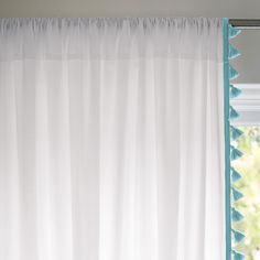 Also comes in juice color if we paint walls in Pool color....French Tassel Window Panel – Aqua | Serena  Lily